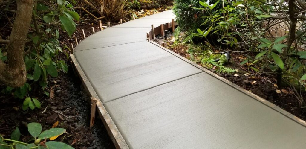 Gray curved concrete walkway
