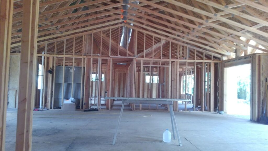 Inside view of house framing and infrastructure for roof and walls