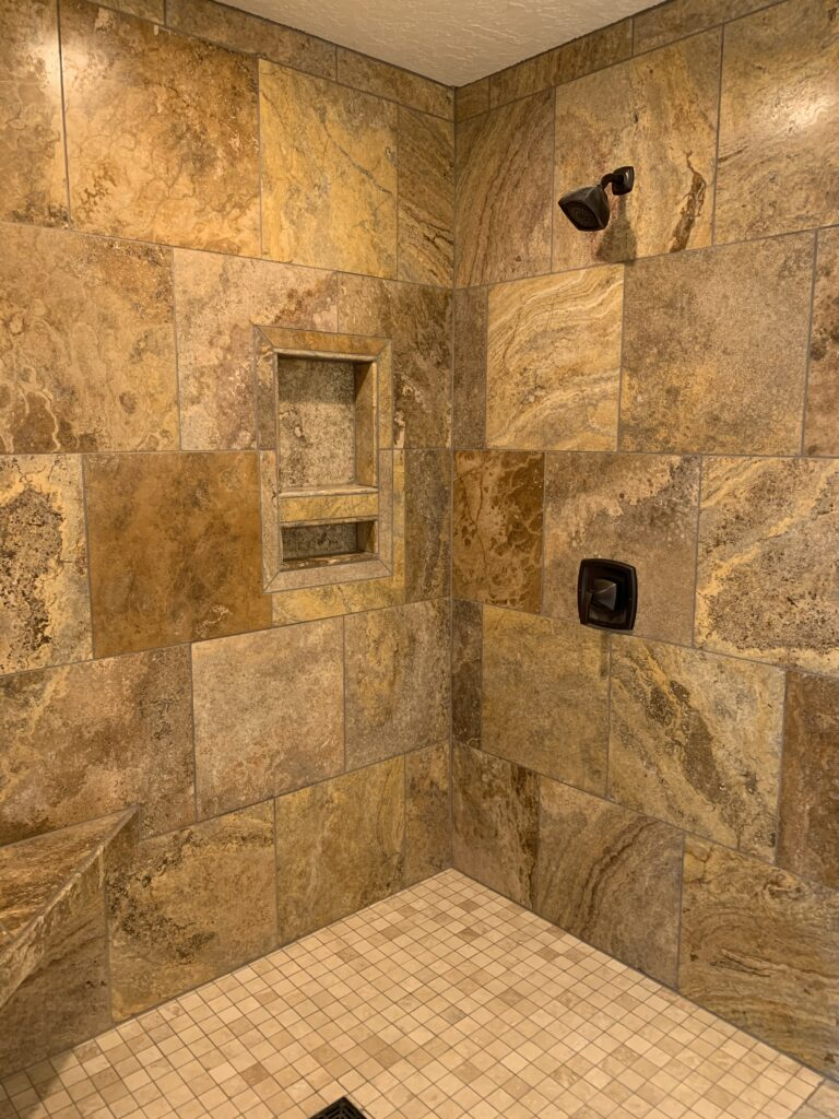 Wall and floor tiling for an updated shower